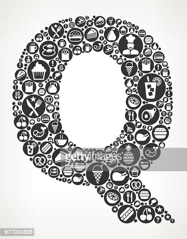 Letter Q Food Black And White Icon Background Vector Art Getty Images
