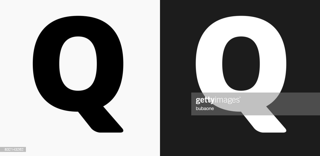 Letter Q Icon On Black And White Vector Backgrounds Vector Art