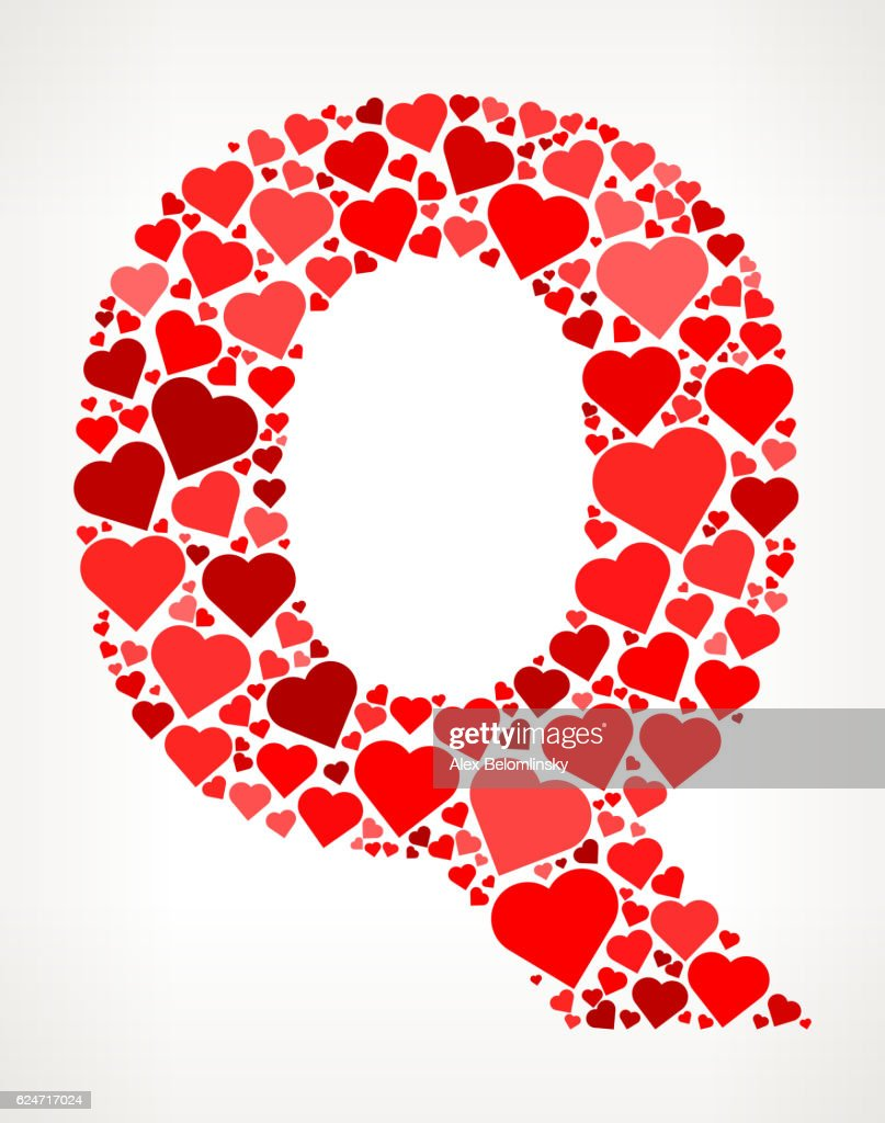 Letter Q Icon With Red Hearts Love Pattern Vector Art | Getty Images