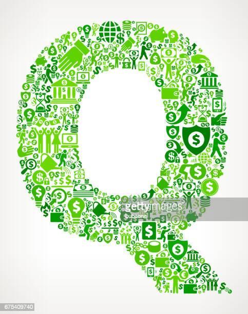 illustrazioni stock, clip art, cartoni animati e icone di tendenza di sfondo icona vettore verde della lettera q money and finance - q and a