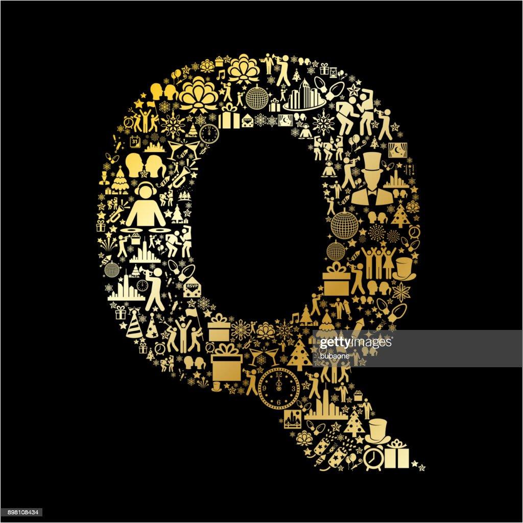 Letter Q New Year Golden 2018 Celebration Vector Icon Pattern : Vector Art