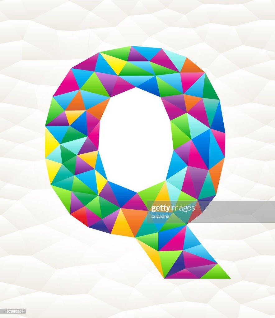 Letter Q on triangular pattern mosaic royalty free vector art : Vector Art