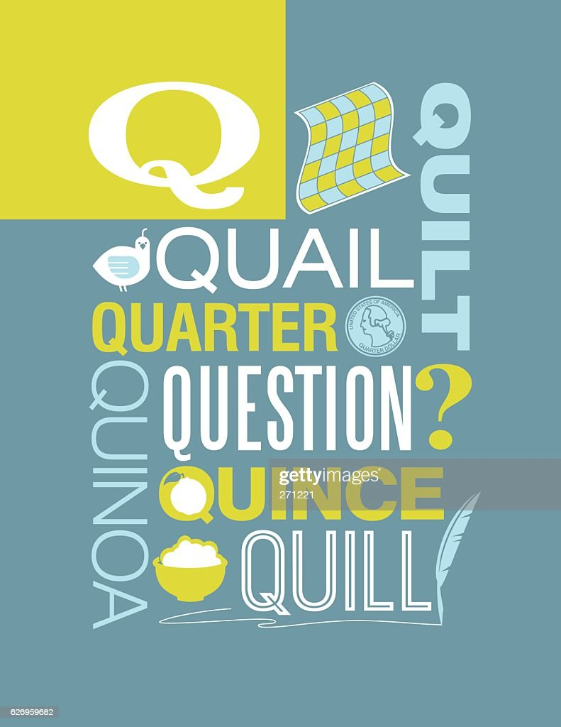 Letter Q poster. Illustrations and words that start with Q.