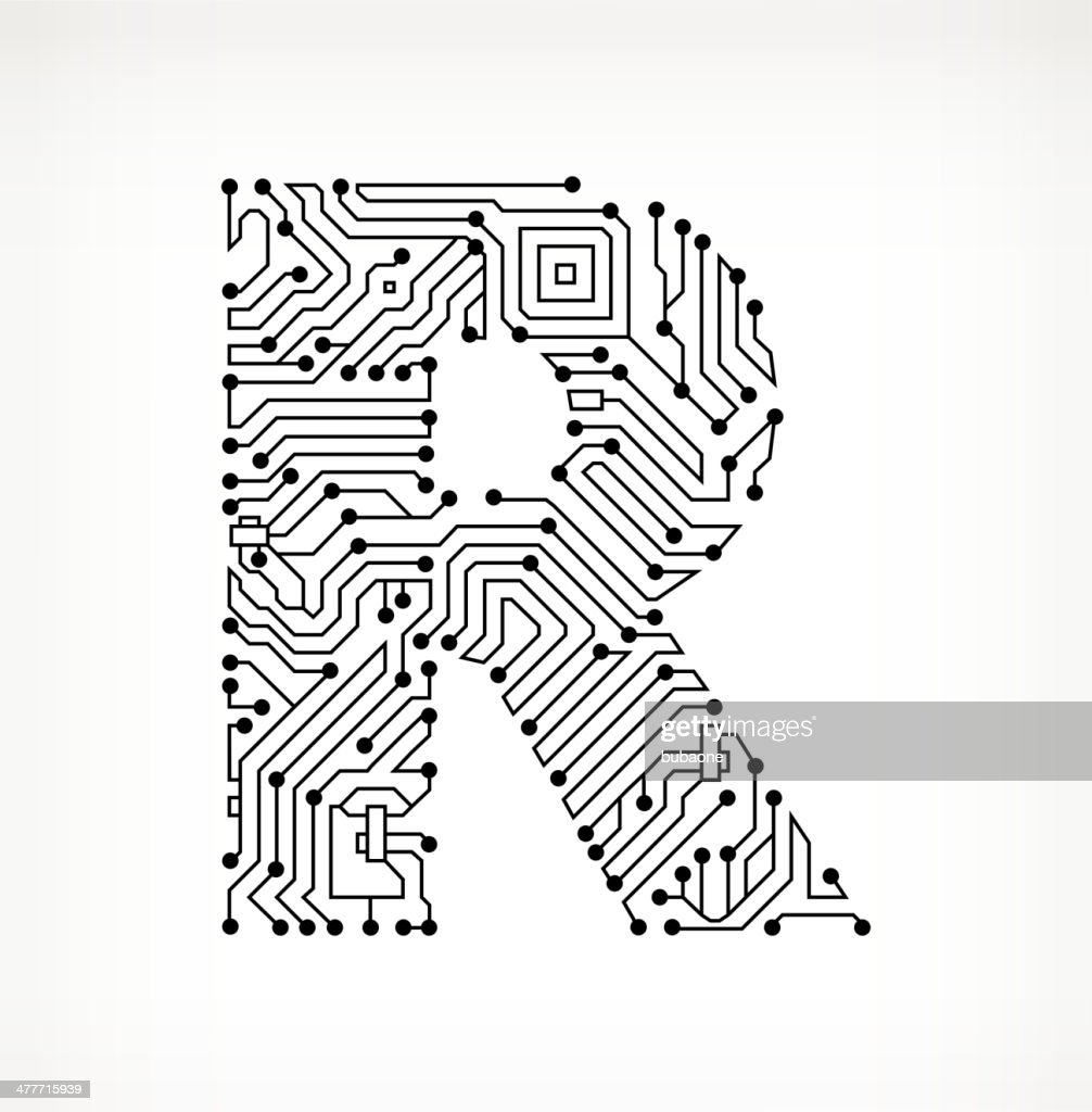 letter r circuit board on white background vector art