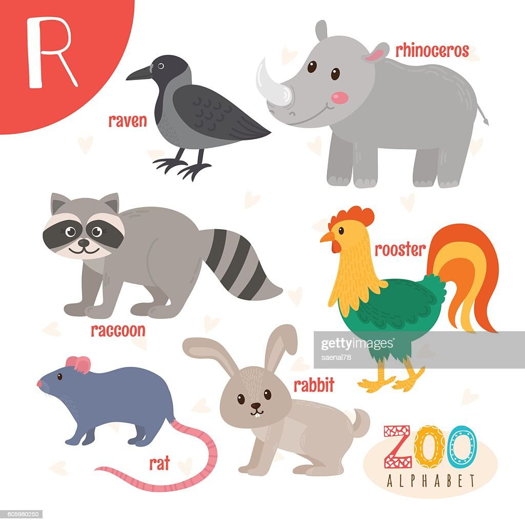 Letter R. Cute animals. Funny cartoon animals in vector
