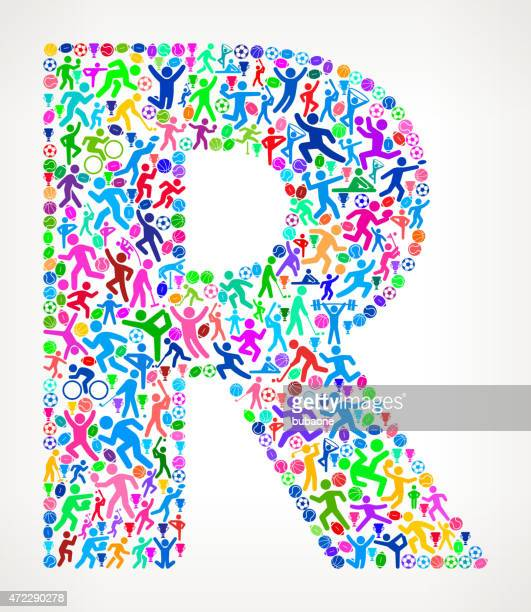 Letter R Fitness Sports and Exercise pattern vector background