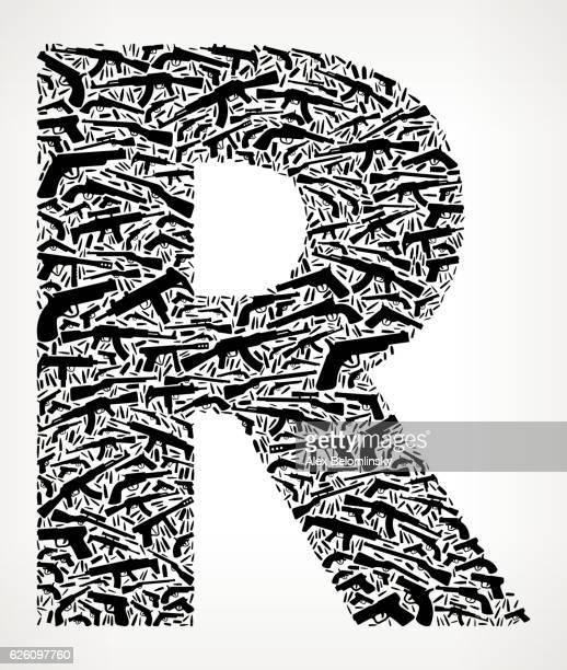 ilustraciones, imágenes clip art, dibujos animados e iconos de stock de letter r gun black icon pattern background - ak 47