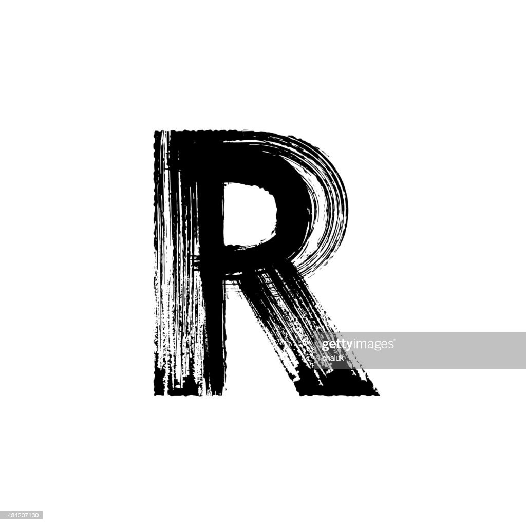 Letter R hand drawn with dry brush