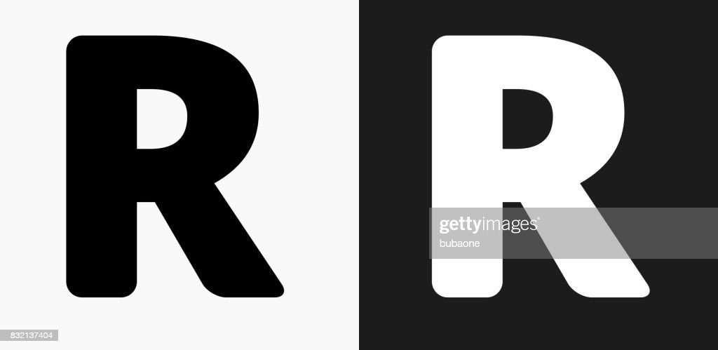 066ee50a Letter R Icon on Black and White Vector Backgrounds : stock illustration