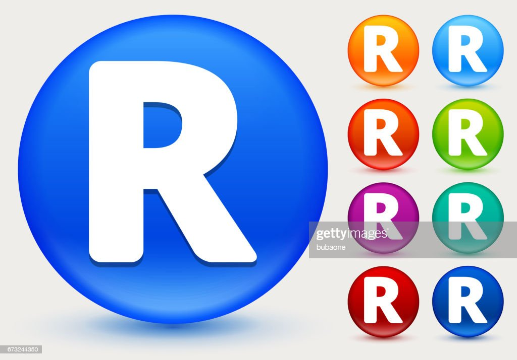 Letter R Icon On Shiny Color Circle Buttons stock