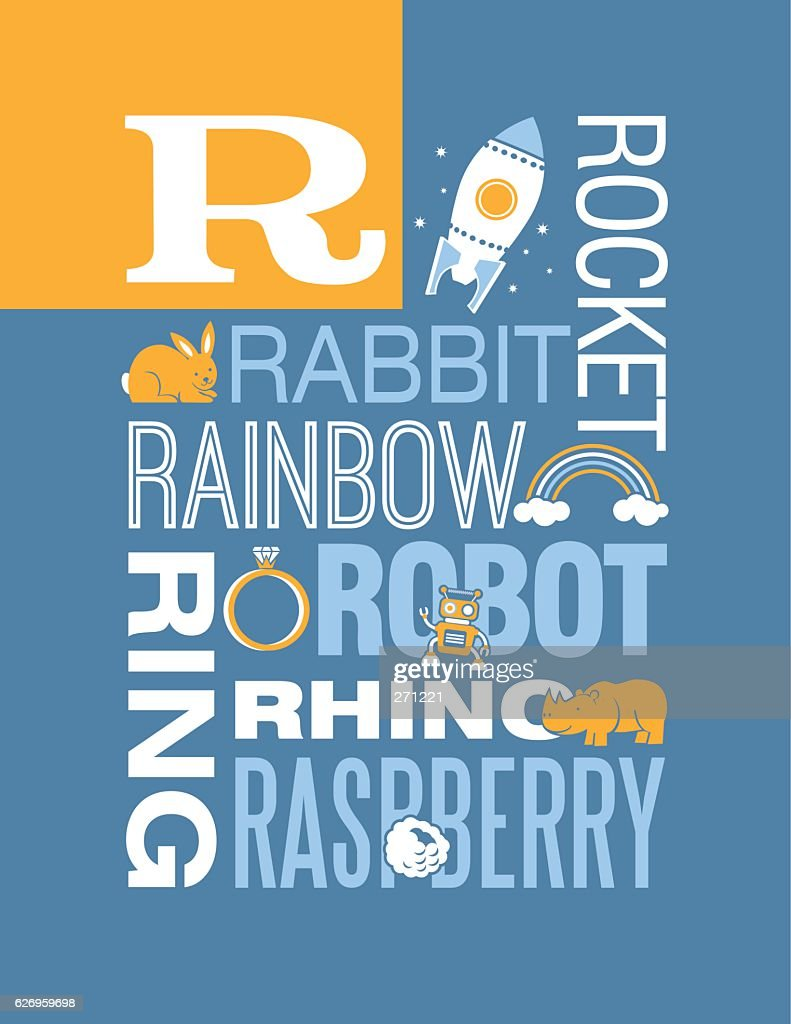 Letter R poster. Illustrations and words that start with R.