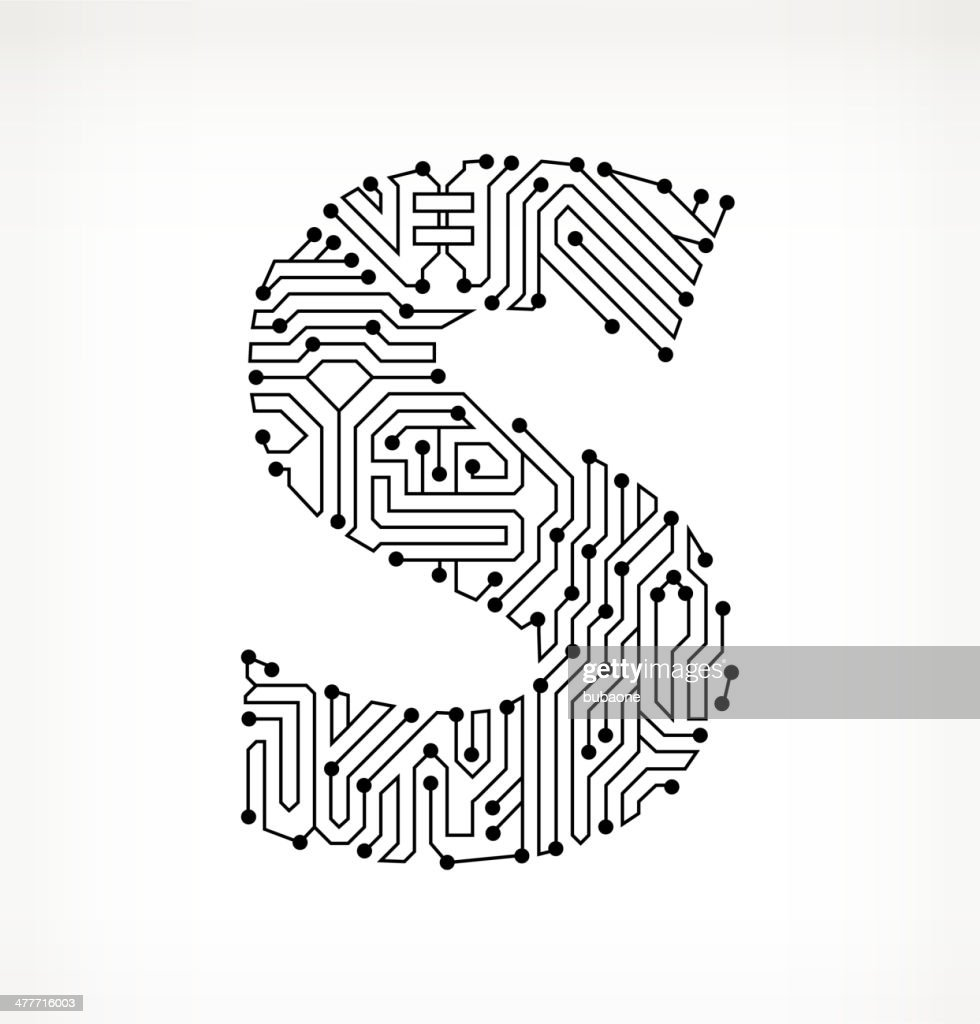letter s circuit board on white background stock illustration