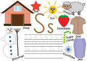 Letter S.  English alphabet. Writing practice for children. Kid's game. Vector illustration.