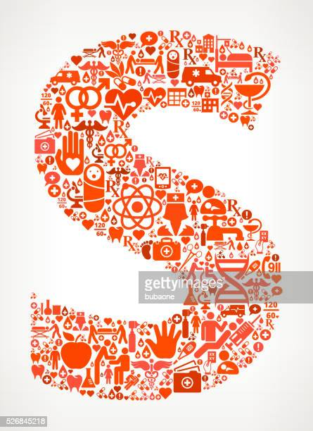 letter s healthcare and medical red icon pattern - letter s stock illustrations, clip art, cartoons, & icons