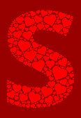 Letter S Icon with Red Hearts Love Pattern