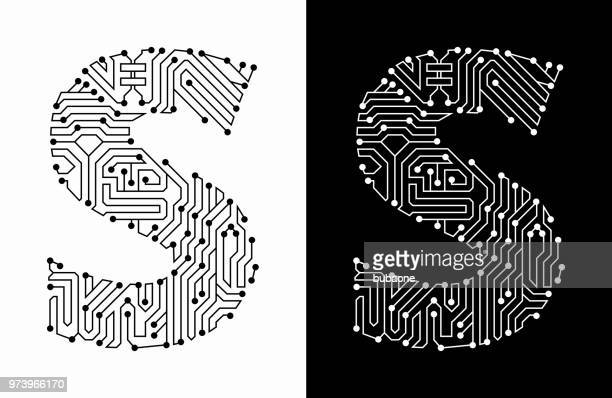 letter s in black and white circuit board font - letter s stock illustrations, clip art, cartoons, & icons