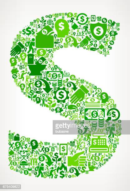 Letter S Money and Finance Green Vector Icon Background
