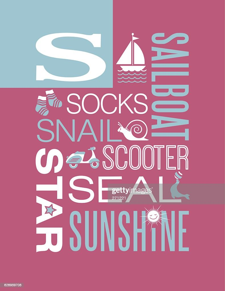 Letter S poster. Illustrations and words that start with S.