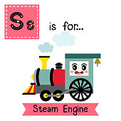 Letter S tracing. Steam Engine