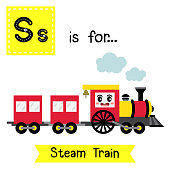 Letter S tracing. Steam Train
