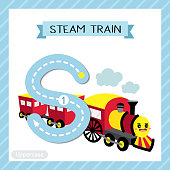 Letter S uppercase tracing. Steam Train
