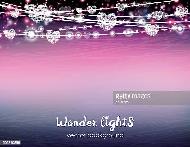 Letter size horizontal shining background with a rope lights