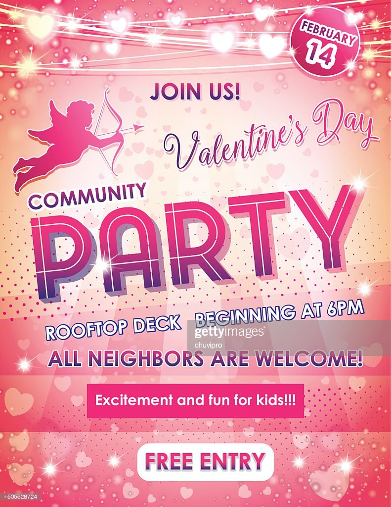 Letter size poster Valentine's Day Neighbors Party : Vector Art