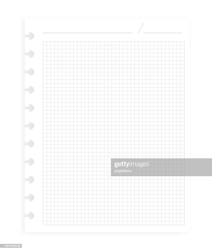 Letter size squared paper sheet with header for disc binder, template