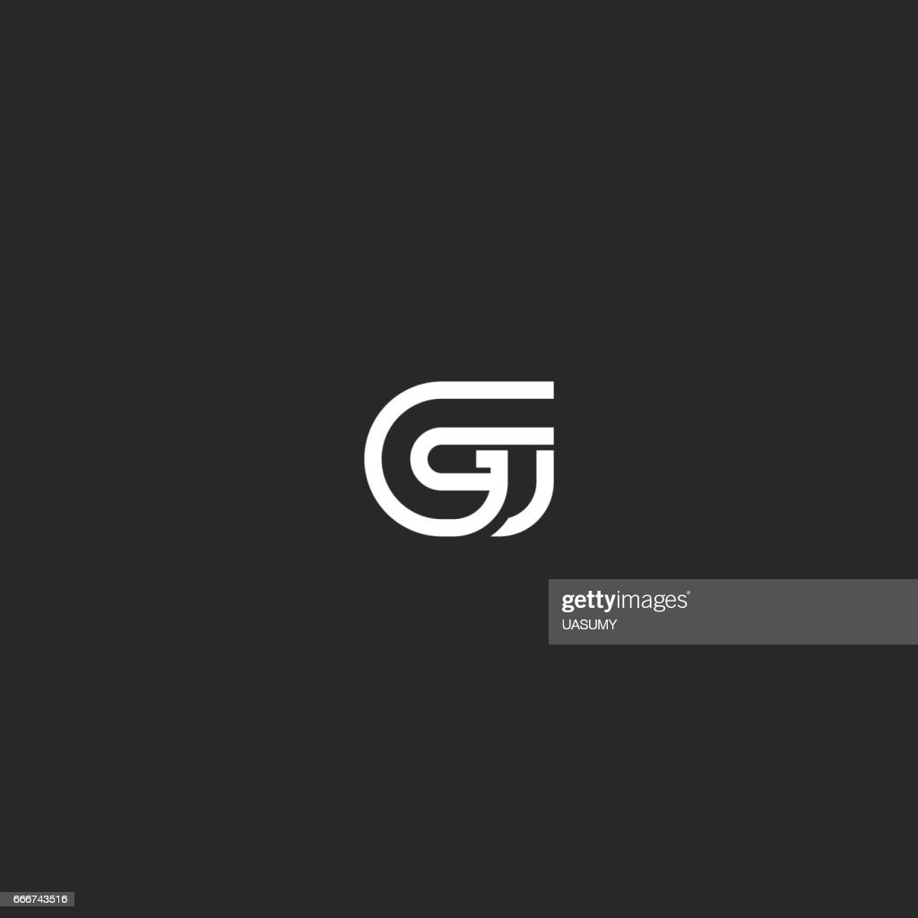 G letter symbol monogram typography design element template, linear simple geometric shape mark, business card hipster initial mockup