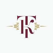 letter T and letter K Ornament Elegance Monogram. Vintage style ornament. Vector premium symbol design.