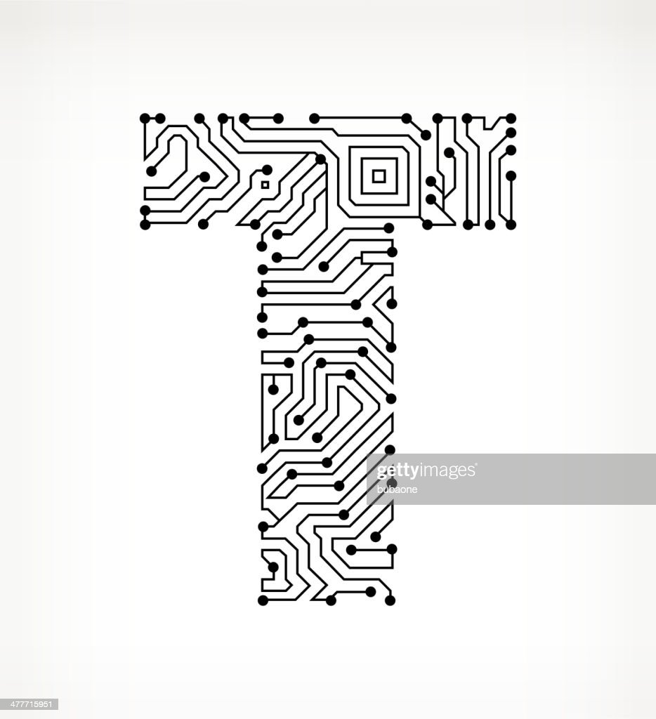letter t circuit board on white background vector art