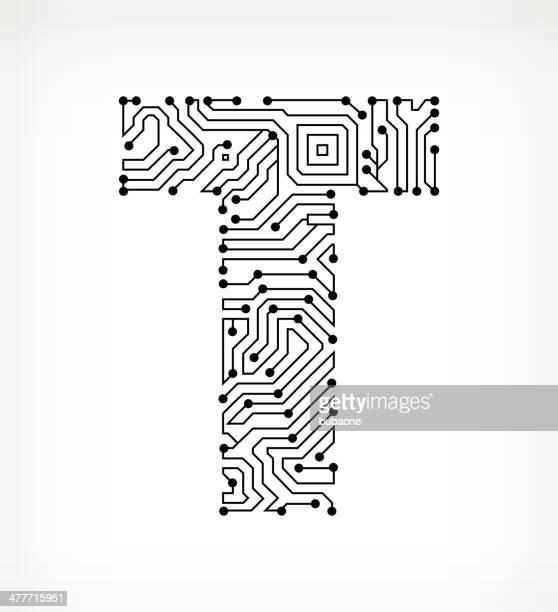 ilustrações de stock, clip art, desenhos animados e ícones de letra t placa de circuito no fundo branco - letra t