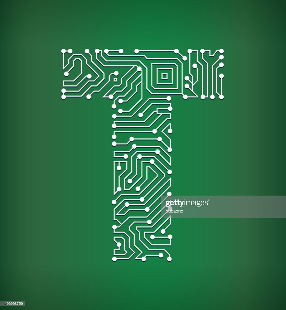 Letter T Circuit Board Royalty Free Vector Art Background Vector Art ...