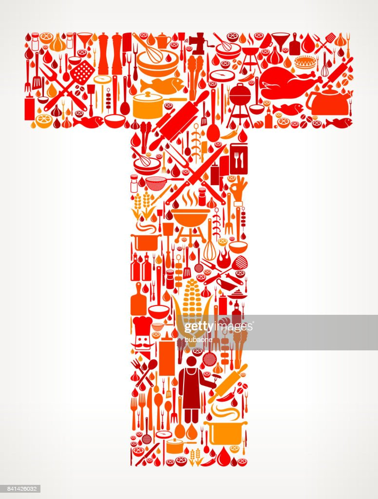 letter t cooking and food vector icon pattern vector art