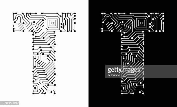 ilustrações de stock, clip art, desenhos animados e ícones de letter t in black and white circuit board font - letra t