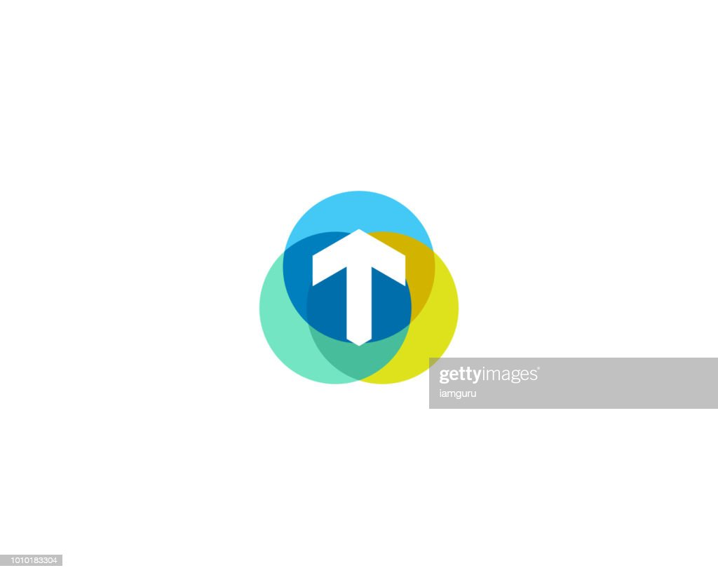 Letter t logo design. Colorful circles overlay icon logotype.
