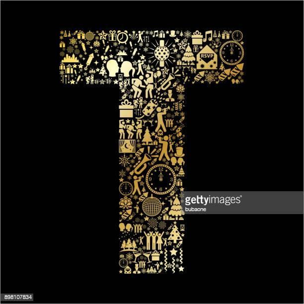 ilustrações de stock, clip art, desenhos animados e ícones de letter t new year golden 2018 celebration vector icon pattern - letra t