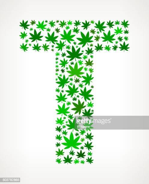 letter t on marijuana royalty free vector art pattern - marijuana leaf text symbol stock illustrations, clip art, cartoons, & icons
