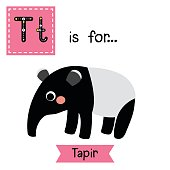 Letter T tracing. Standing Tapir.