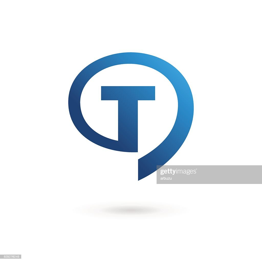 Letter T with speech bubble icon