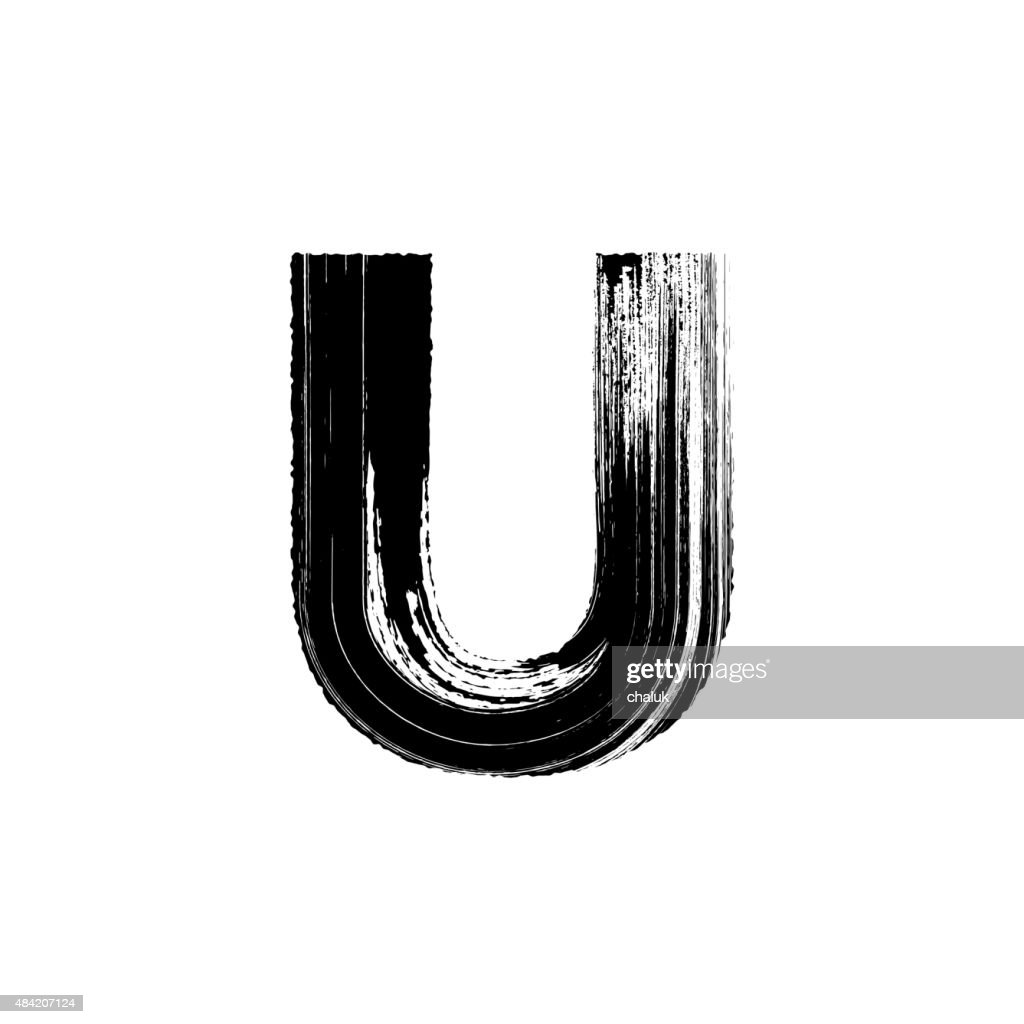 Letter U hand drawn with dry brush