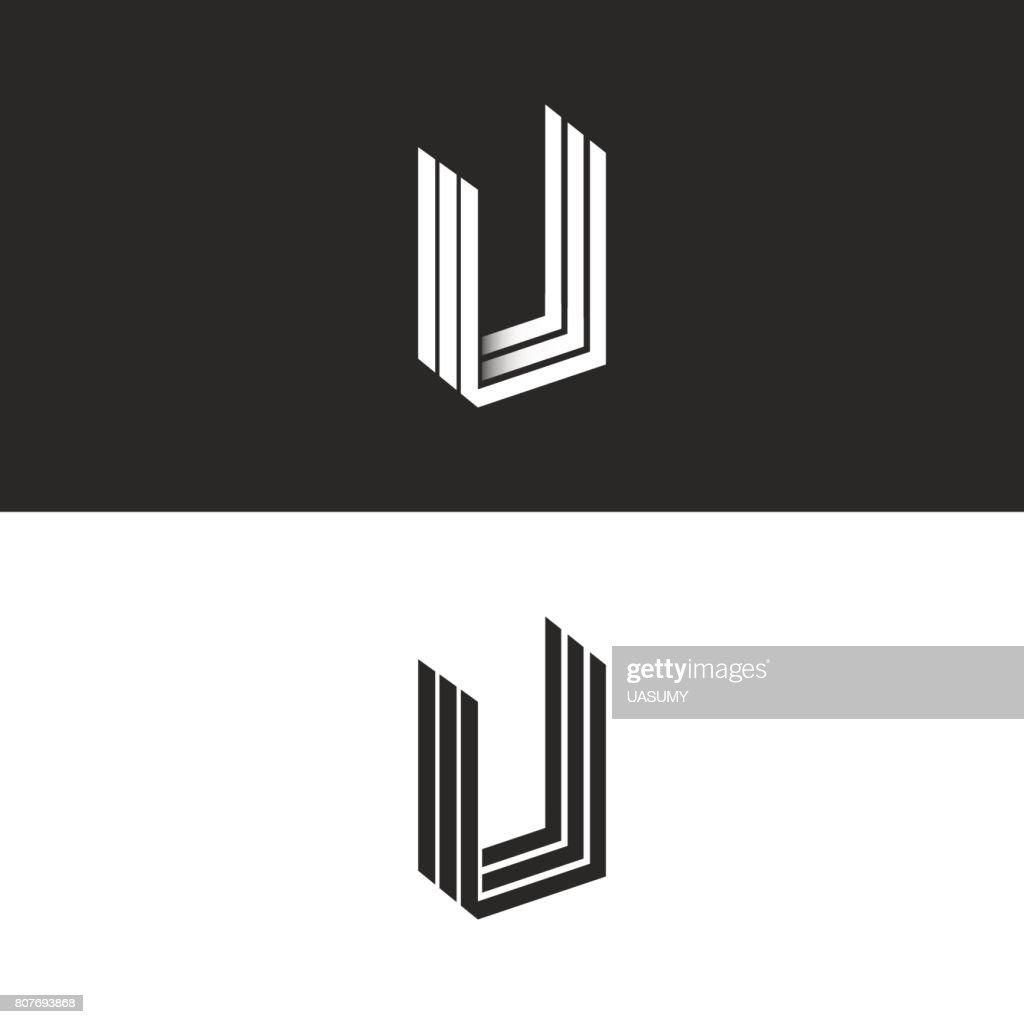 Letter U icon isometric geometric shape perspective monogram, hipster graphic initials UUU emblem mockup, black and white monogram decoration design element template.