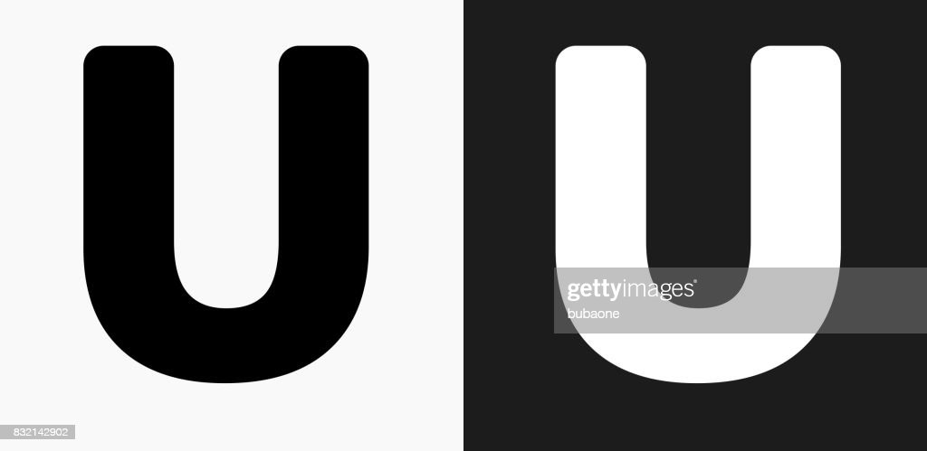Letter U Icon On Black And White Vector Backgrounds Vector Art