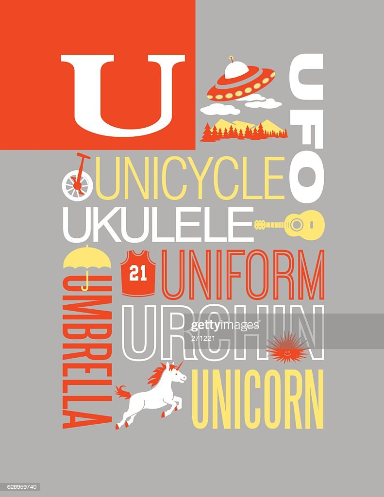 Letter U poster. Illustrations and words that start with U.