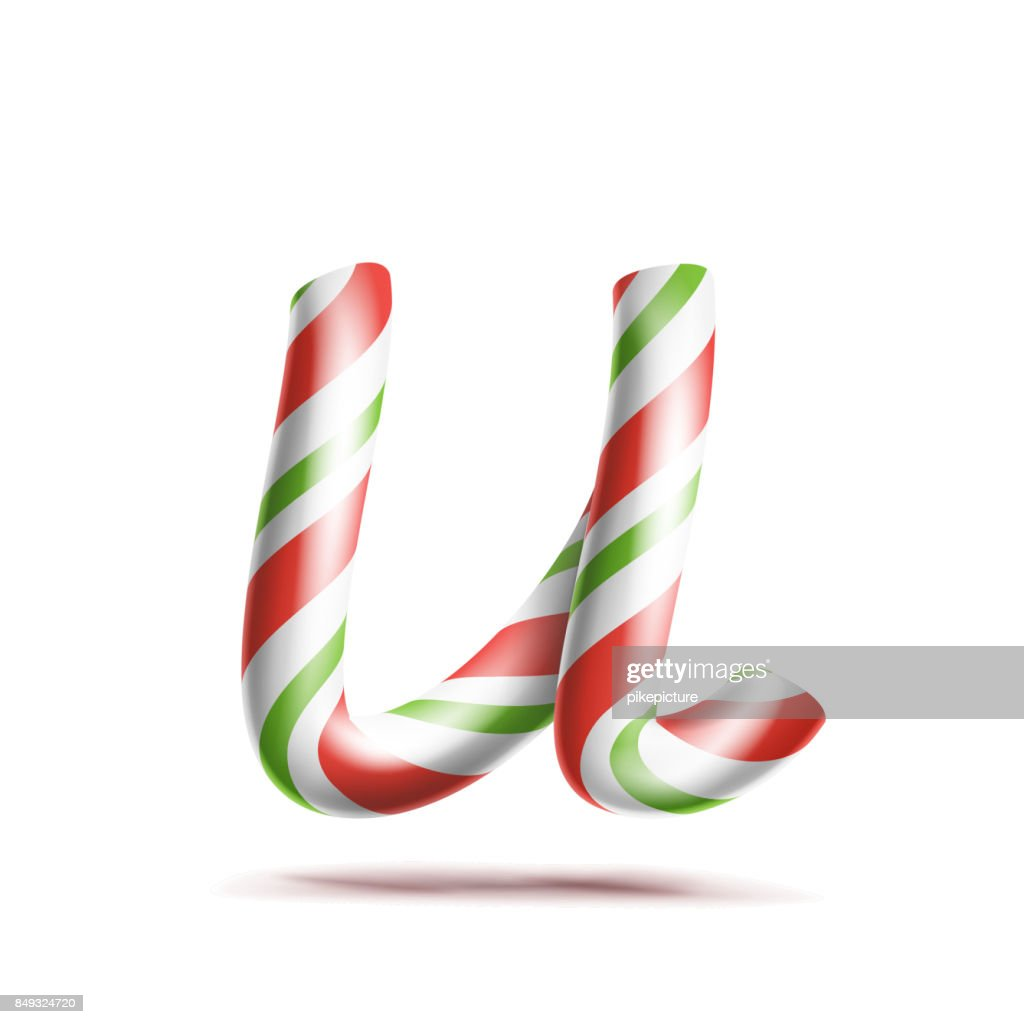 Letter U Vector 3d Realistic Candy Cane Alphabet Symbol In Christmas