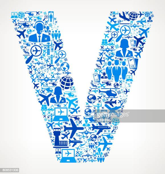 Letter V Aviation and Air Planes Vector Graphic