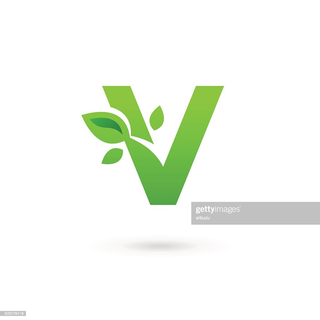 Letter V or number 5 with eco leaves icon