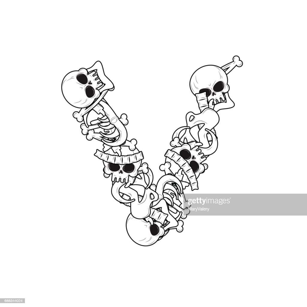 Letter V Skeleton Bones Font Anatomy Of An Alphabet Symbol Dead Abc