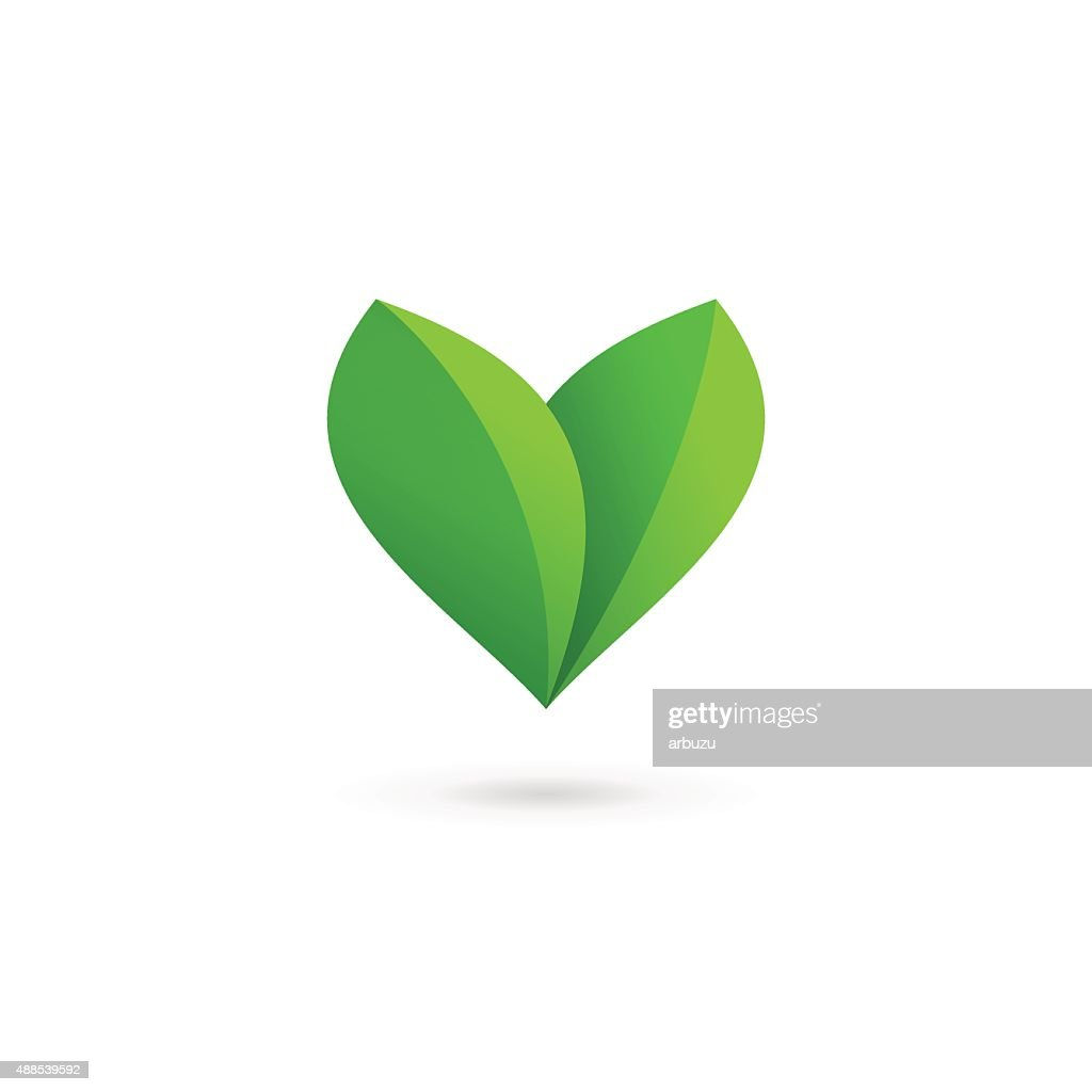 Letter V with heart and eco leaves icon