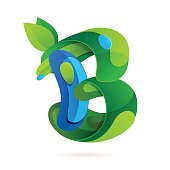 B letter volume ecology icon with leaves and water drops